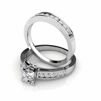1.80CT Princess and Round Cut Diamond Bridal Set