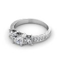 1.70CT Princess and Round Cut Diamonds Engagement Ring