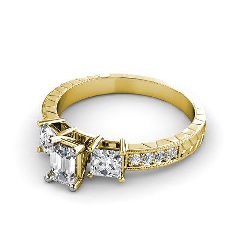 1.05CT Emerald and Round Cut Diamonds Engagement Ring