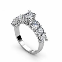 1.95CT Emerald and Round Cut Diamonds Engagement Ring
