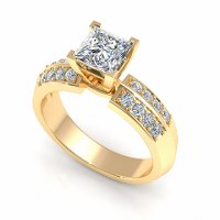 0.70CT princess and round  cut diamonds engagement ring
