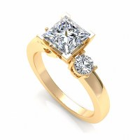 0.75CT princess and round  cut diamonds engagement ring