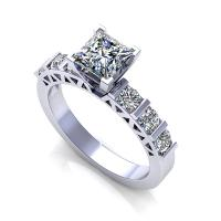 0.95CT princess and round  cut diamonds engagement ring