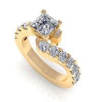 1.65CT princess and round  cut diamonds engagement ring